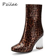 Pzilae/пикантные ботильоны для женщин г. Ботинки на высоком каблуке женские зимние ботинки с квадратным носком Модные кеды с леопардовым принтом 33-43