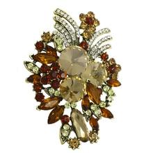 Бренд baiduqiandu, большой размер, Ретро стиль, кофейный цвет, кристалл, растение, брошь, булавки для женщин, в античном латунном цвете, с покрытием
