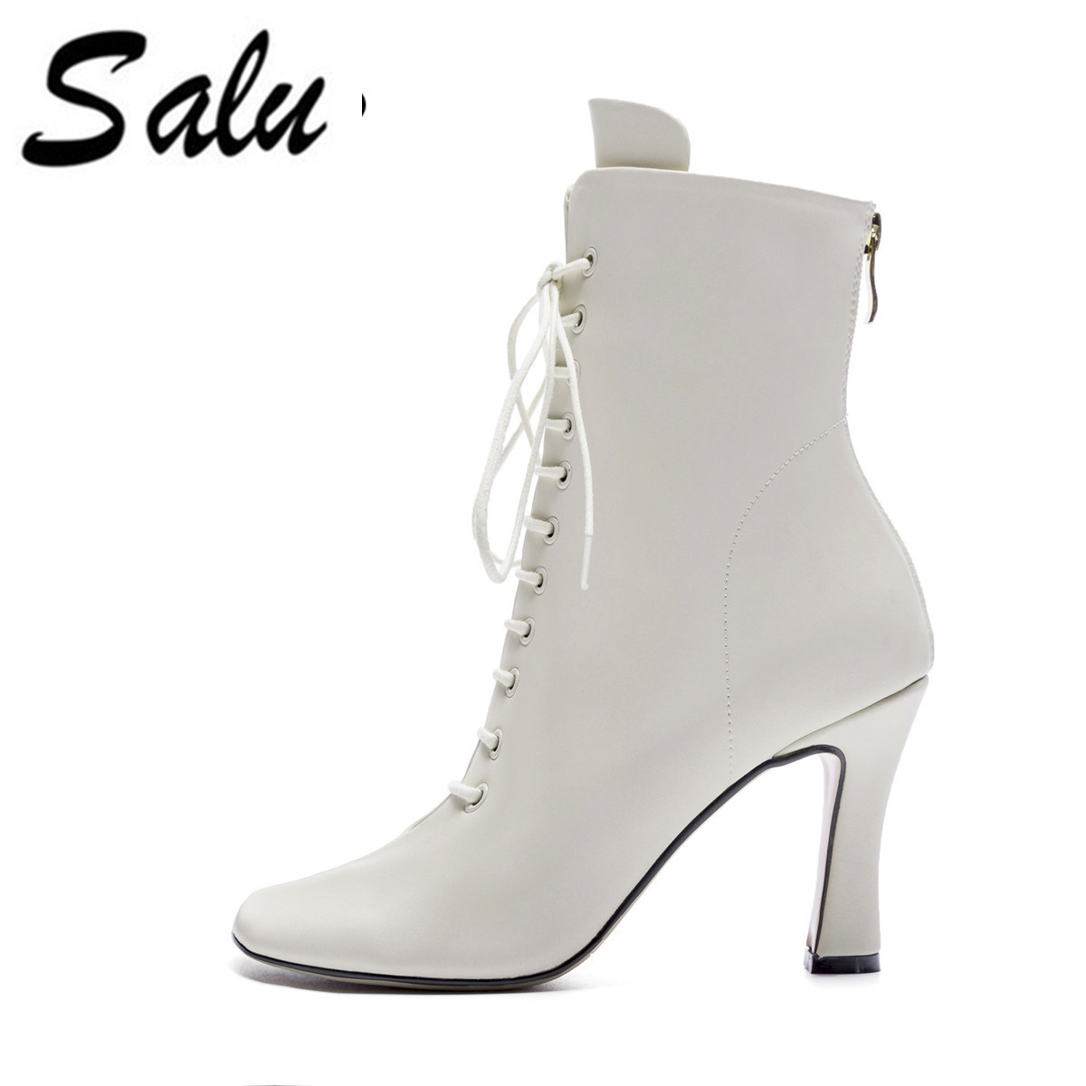 Salu 2018 new Women Ankle Boots Pointed Toe Chunky High Heel Boots Mirror Metallic Women Pumps