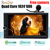Quad Core 1024 600 2DIN 178 100 Android 5 1 Universal Car GPS Stereo Radio And