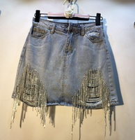 Nancylim Studded Denim Skirts Women Summer 2019 New Fashion Rhinestone Drilled High Waist Hole Jean Skirt Mini Skirt Femme