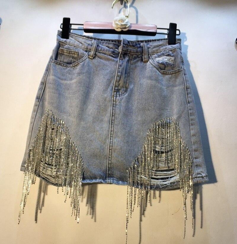Nancylim cloutée Denim jupes femmes été 2019 nouvelle mode strass percé taille haute trou Jean jupe Mini jupe Femme