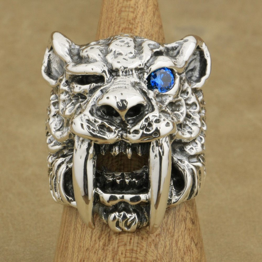 LINSION 925 Sterling Silver Blue CZ Eye Sabretooth Ring Mens Biker Rock Punk Tiger Ring TA16 US Size 7~15 alloy tooth eye rock ring