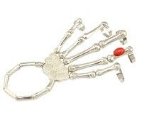 الشرير الصخرة أزياء النساء الفضة معدن الأحمر الراتنج جوهرة عظم الجمجمة اليد مخلب مصمم سوار الكفة الإسورة