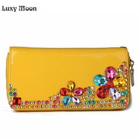 FREE SHIPPING High Quality Rhinestone Diamond Wallet Design Leather Purse Ladies Clutch Wallet Pouch Clutch For
