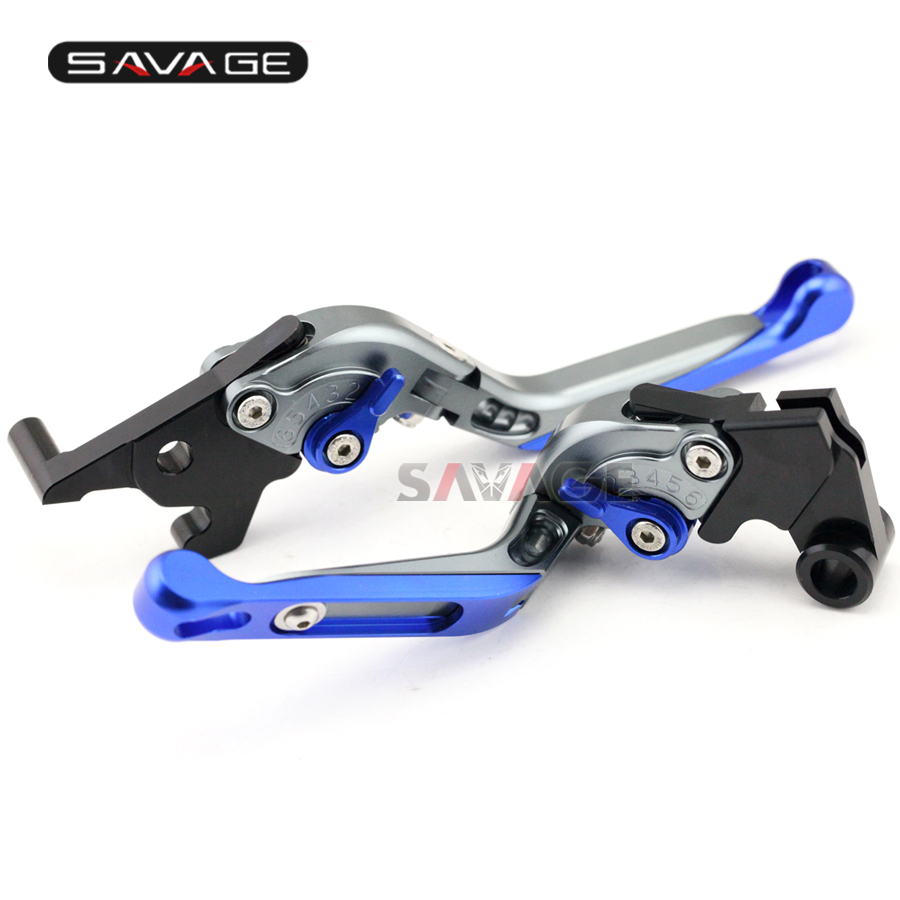 For YAMAHA YZF-R25 YZF-R3 MT-25 MT-03 2015-2016 Motorcycle Adjustable Folding Extendable Brake Clutch Levers Blue+Titanium with logo yzf r1 black titanium cnc adjustable folding extendable motorcycle brake clutch levers for yamaha yzf r1 2002 2003
