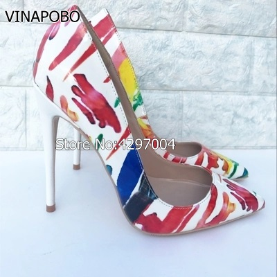 Luxury Women Pumps Pointy Toe Gladiator Sandals Graffiti Print Dress Wedding Shoes Woman Leather Single Shoes