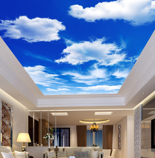 Custom ceiling wallpaper, blue sky and white clouds murals ...