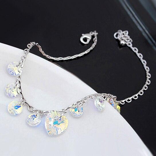 484674ce6571 Brillante de cristal de Swarovski pulseras del encanto del corazón para las  mujeres de Color plata Cadena de pulseras y brazaletes Pulseira regalo de  boda
