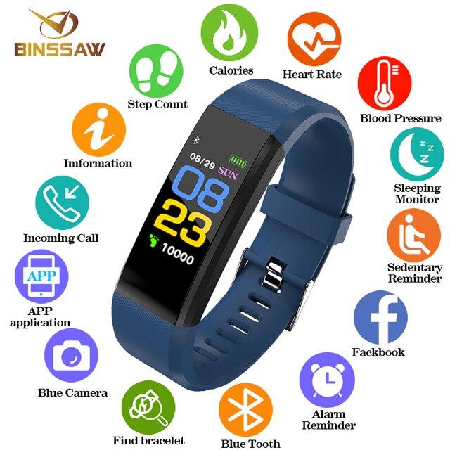 BINSSAW 2018 חדש נשים גברים שעון ספורט עמיד למים לחץ דם קצב לב צג Smartwatch גשש כושר מד צעדים שעון