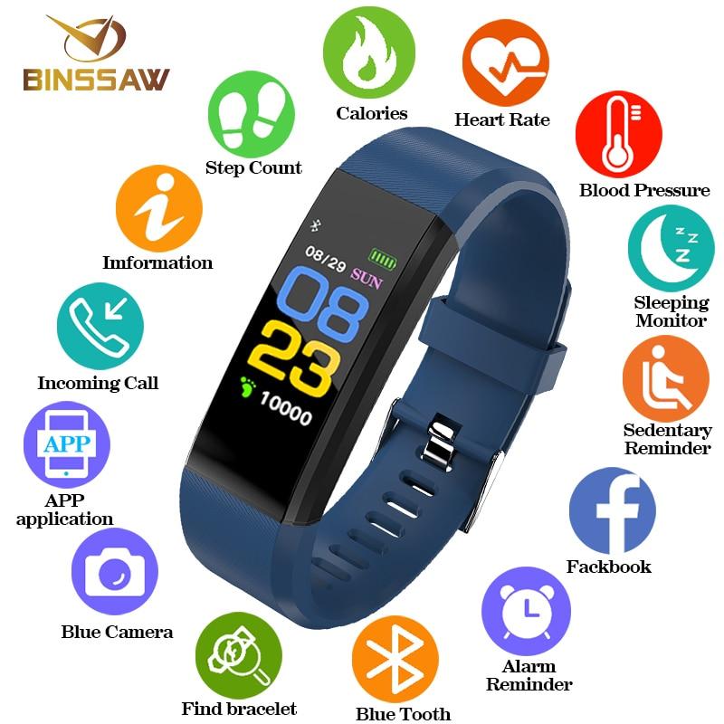 BINSSAW 2018 las nuevas mujeres hombres reloj deporte impermeable presión arterial Monitor de ritmo cardíaco reloj inteligente rastreador de Fitness podómetro reloj
