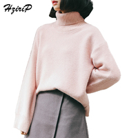 HziriP Casual Cotton Full Batwing Sleeves Women S Turtleneck Pullovers Standard Thick Solid Color Sweater Women