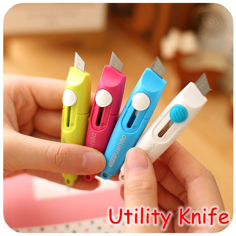 [Deli] Wholesale (20 Pieces/Lot) Sweet Candy Color Mini Cutter Portable Utility Knife With Keychain Hole No.2020