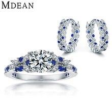 Mdean Sapphire Parures CZ Diamant Véritable 925 En Argent Sterling Boucles D'oreilles/Anneaux pour les Femmes Sterling-Argent-bijoux MSJ002