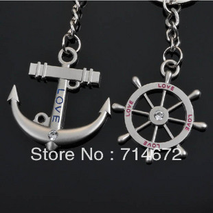"""Free shipping (40PR/LOT )Wholesale """"Anchor and Helm"""" STAINLESS STEEL LOVE KEY RINGS-KEY CHAINS"""