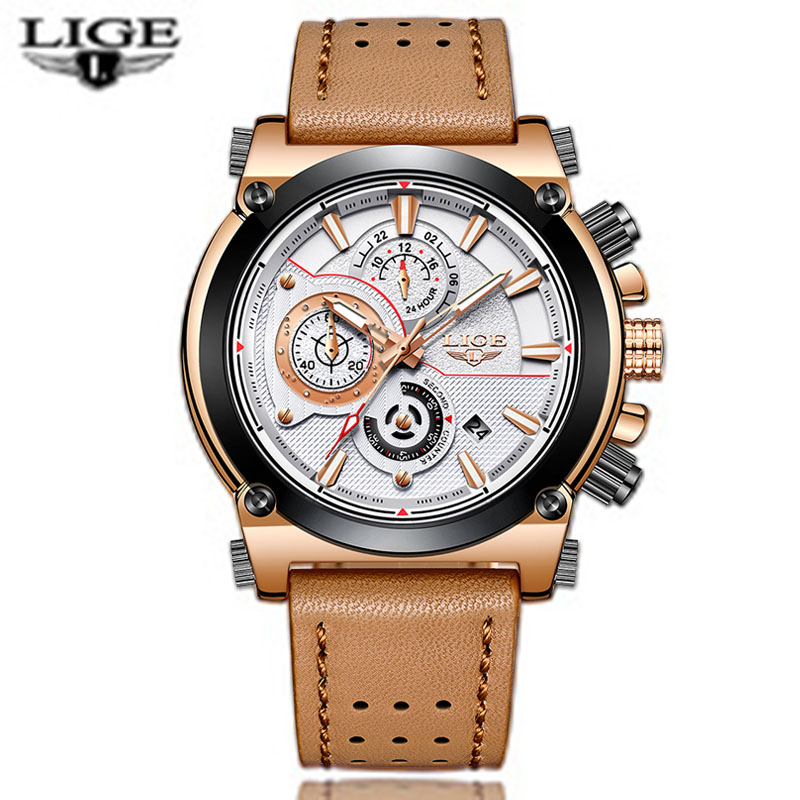 Nuevo reloj LIGE para hombre de marca superior de lujo de cuarzo de gran Dial reloj deportivo militar impermeable de cuero reloj Masculino