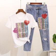 Plus Size M-5XL Women Balck White Tops and Denim Pants Suit Summer Love Striped Sequins Cotton T-Shirt and Jeans 2 Pieces Set