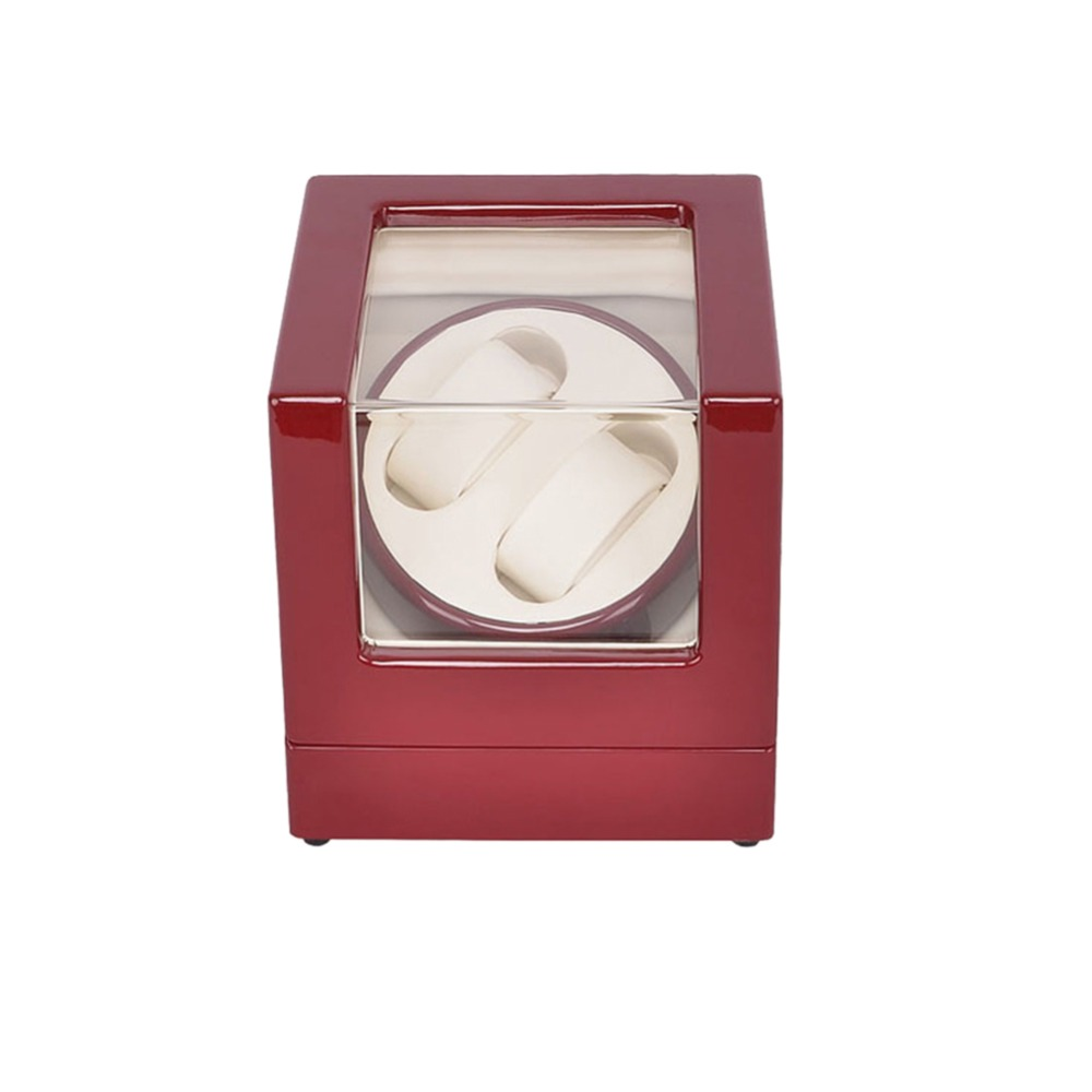 Watch Winder ,LT Wooden Automatic Rotation 2+0 Watch Winder Storage Case Display Box (Outside is red and inside is white) 2016 latest luxury 5 modes german motor watch winder yellow spray paint wooden white pu leater inside automatic watch winder