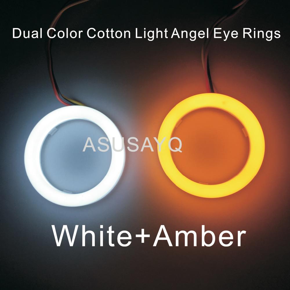 Prix pour 1 paire 2 PCS Double Couleur Automobile Phare Halo Anneaux Lumière Guide Angel Eye Voiture Coton lumière Ange Yeux SMD Avec Allumer La Lumière
