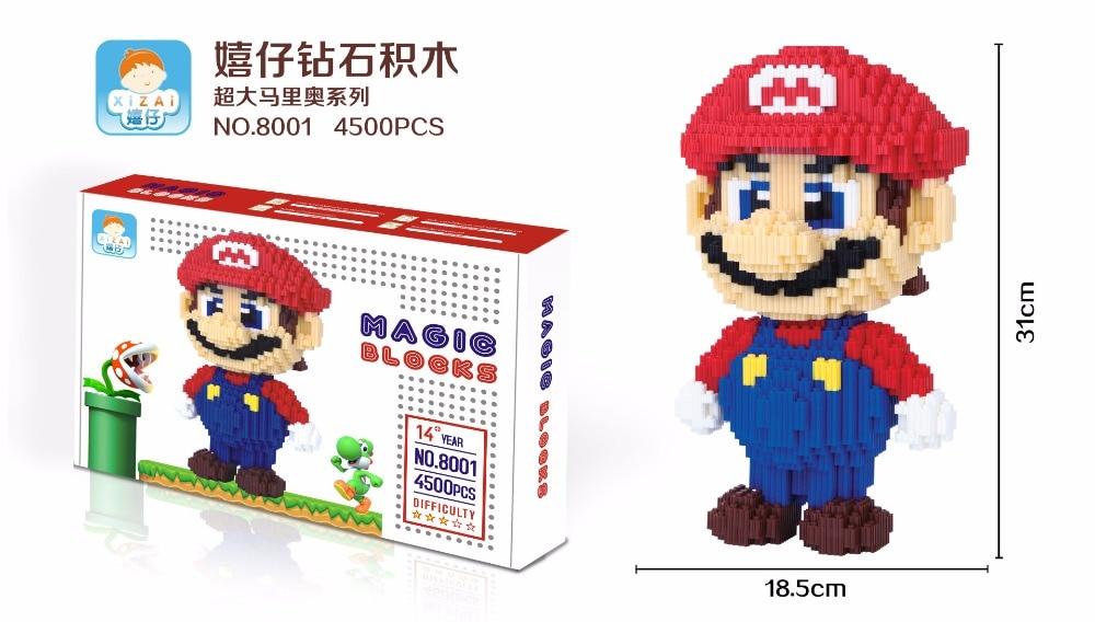 Super Mario Big size DIY Blocks Micro Cartoon DIY Building Toys Juguetes 3D Auction Figures Luigi Children Gifts 8001-8002
