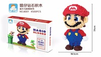 Super Mario Big Size DIY Blocks Micro Cartoon DIY Building Toys Juguetes 3D Auction Figures Luigi