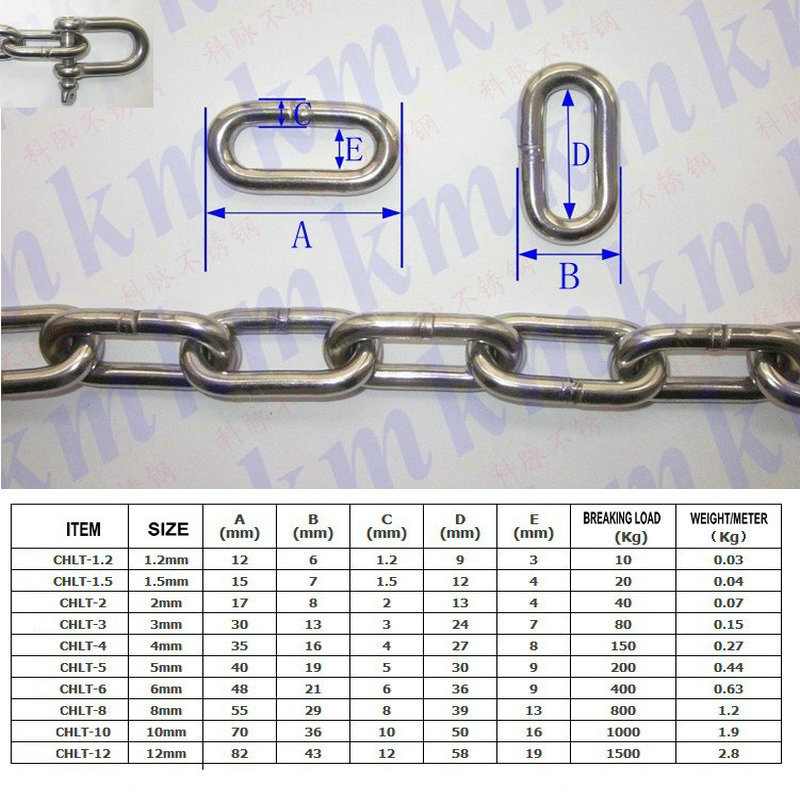 2 mm Stainless Steel Long Link Chain
