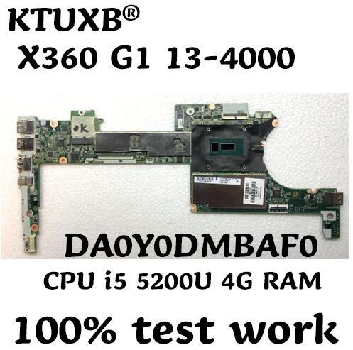 KTUXB DA0Y0DMBAF0 for HP X360 G1 13 4000 notebook motherboard 801507 501 CPU i5 5200U 4G