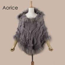 Aorice SRR008 Реального Трикотажные с капюшоном мех кролика шаль пончо украл кабо шарф wrap3 цвет