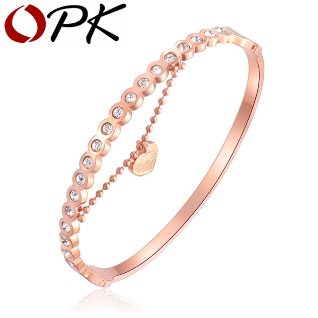 OPK Fashion Heart Pendant Open Bangle For Women Inlaid Cubic