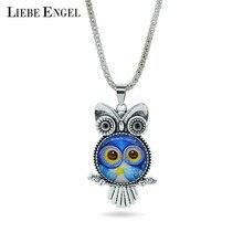 2016 Glass Owl Necklaces & Pendants Antique Silver Popcorn Chain Vintage Women Men Necklaces Fashion Charms Brand Jewelry 1 PCS