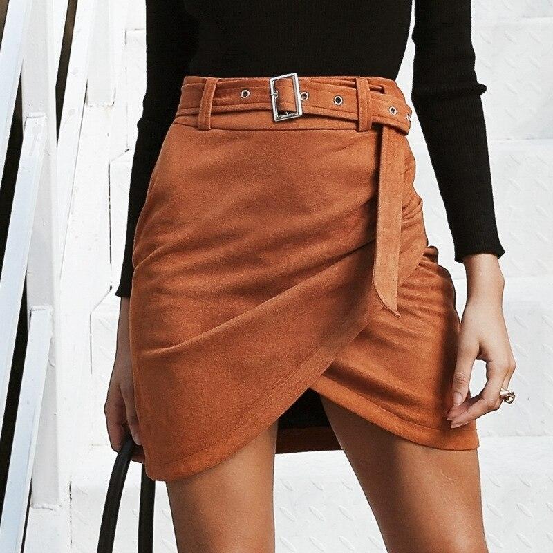 Autumn Winter Skirts Women High Waist Belt Suede Leather Skirt Women Irregular Bodycon Mini Skirt Streetwear Women Skirt Bottom