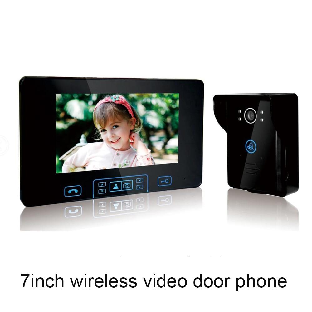 2.4GHZ Wireless Door Bell 7 Inch Color Display Screen Waterproof Smart Home Control Device Video Door Phone Doorbell Monitor