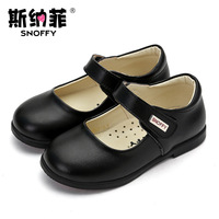 Snoffy Children Girl Shoes Party Princess Leather Shoes Black White School Shoes For Kids Sapato Infantil