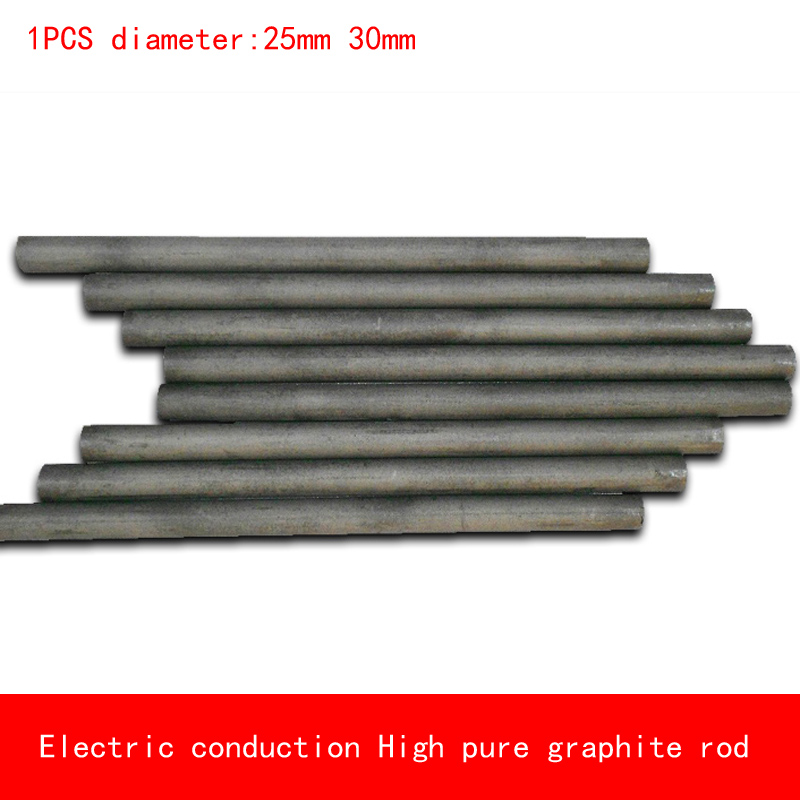 1pcs diameter 25mm 30mm length 50-300mm heat resistant Electric conduction high Pure Graphite rod Electrode Carbon rod 5pcs 100mm length graphite rod 10mm diameter electrode cylinder rods bars black for industry tools
