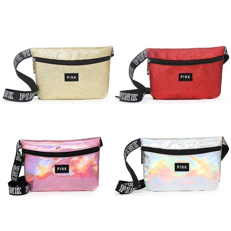 Holographic Waist Bag  Women Pink Fanny Pack Belt Bag Female Belt Bag Chest Phone Pouch Victorian Bag Dropshipping Fornecedores