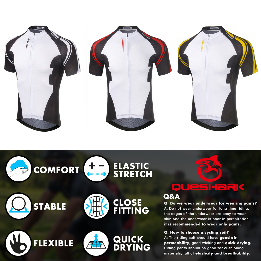 Queshark Summer Cycling Jersey Breathale Mountain Bike Clothing Quick-Dry Racing MTB Bicycle Clothes Uniform Cycling Suit Set 2