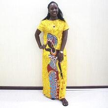 アフリカ女性のための 2019 新アフリカ黄色カジュアル半袖ロングドレス