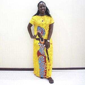 Image 1 - אפריקאי שמלות לנשים 2019 חדש אפריקאי צהוב מזדמן קצר שרוול ארוך שמלה