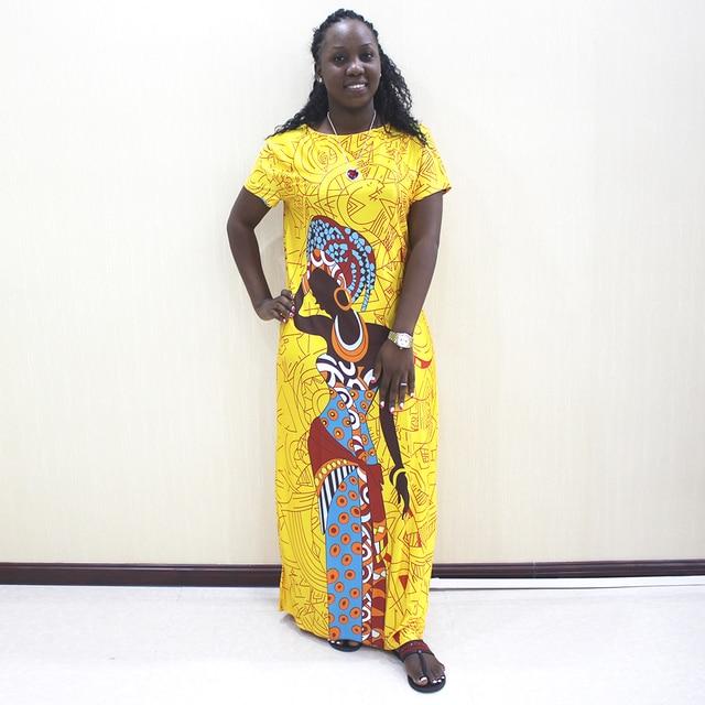 אפריקאי שמלות לנשים 2019 חדש אפריקאי צהוב מזדמן קצר שרוול ארוך שמלה
