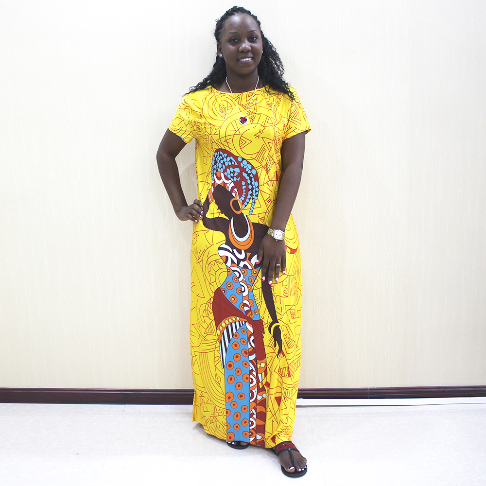 African Dresses For Women 2019 New African Yellow Casual Short Sleeve Long Dress