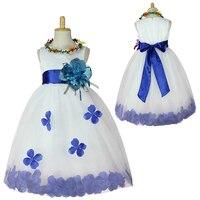 2017 Trẻ Em Mùa Hè 2 cái Gái Quần Áo Trẻ Em Trắng Satin Flower Girl Dress với Lưới Gạc Cánh Hoa Bé Wedding Party mặc