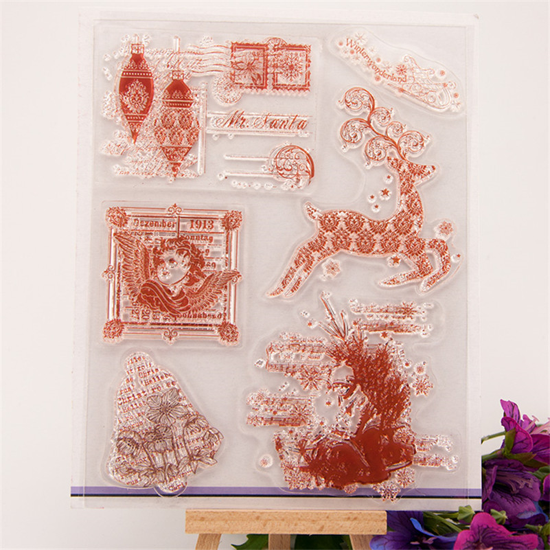 New arrival Scrapbook DIY photo cards christmas and deer silicone stamps transparent stamp for christmas paper craft RM-222 ylcs221 animals silicone clear stamps for scrapbook diy album paper cards decoration embossing folder craft rubber stamp 11 16cm
