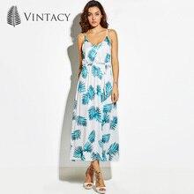 Vintacy 2017 женщин Большие размеры рукавов длиной макси платье Онлайн белый синий летние пляжные платья весенние вечерние длительный отпуск платье