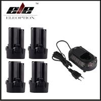 4x10.8 V Bateria para Makita BL1013 BL1014 TD090D TD090DW LCT203W 194550-6 194551-4 Com DC10WA 10.8 V 12 V Carregador