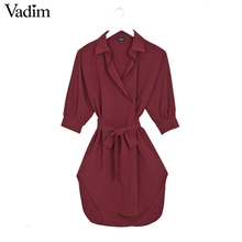 Women solid oversized bow tie sashes dress turn-down collar loose asymmetrical brand streetwear dresses vestidos mujer