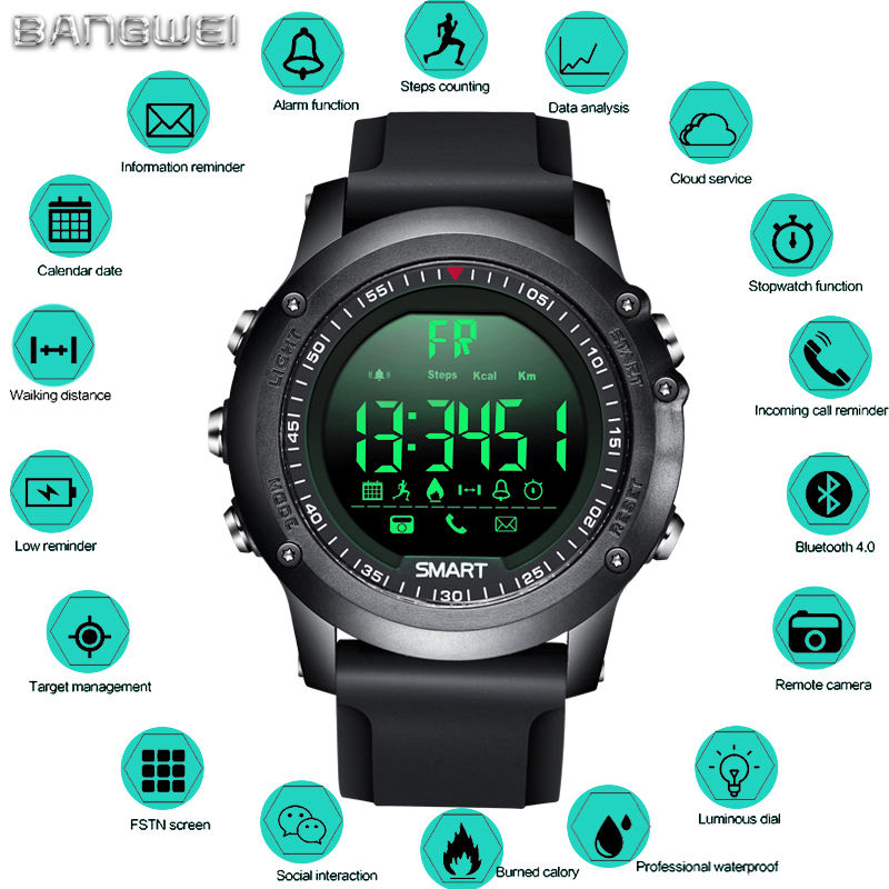 BANGWEI Smart Watch Sport Pedometer Waterproof IP68 Bluetooth Men Digital Clock Call Reminder SmartWatch For ios Android Phone