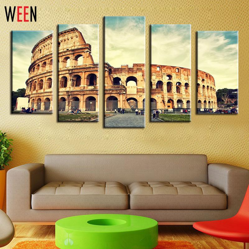 5 Panels Roman Colosseum Canvas Artwork Wall Art for Home Decoration ...