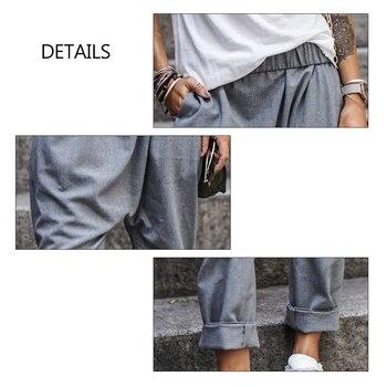 5XL Plus Size Harem Pants Solid Loose Cotton Linen Pants Pockets Casual Elastic Waist Female Clothes Summer Vintage Bottom 5