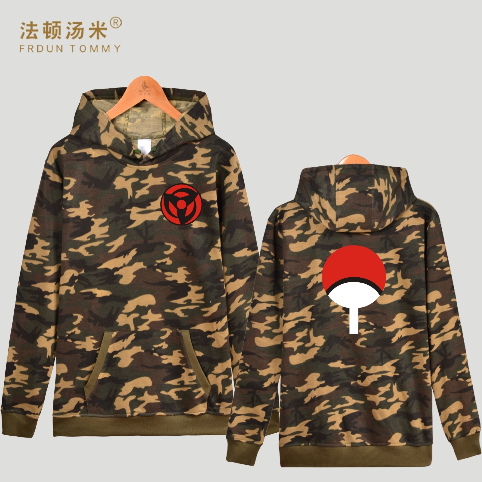 Frdun Tommy Classic Naruto Cartoon Camouflage Hooded Winter Hoodies Women/Men Uchiha Syaringan Cartoon Sweatshirt Casual Clothes
