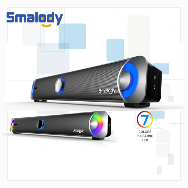 Smalody Multimedia Speaker Soundbar HIFI Sound Box Subwoofer 10W 2.0 Stereo Speakers Headphone/Mic Jack For Laptop Computer PC